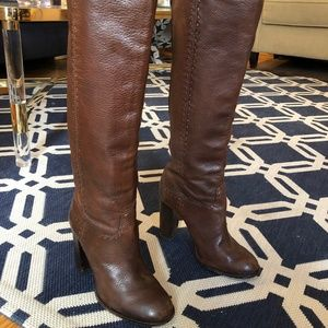 Tory Burch Brown Leather Knee-High Heeled Boots